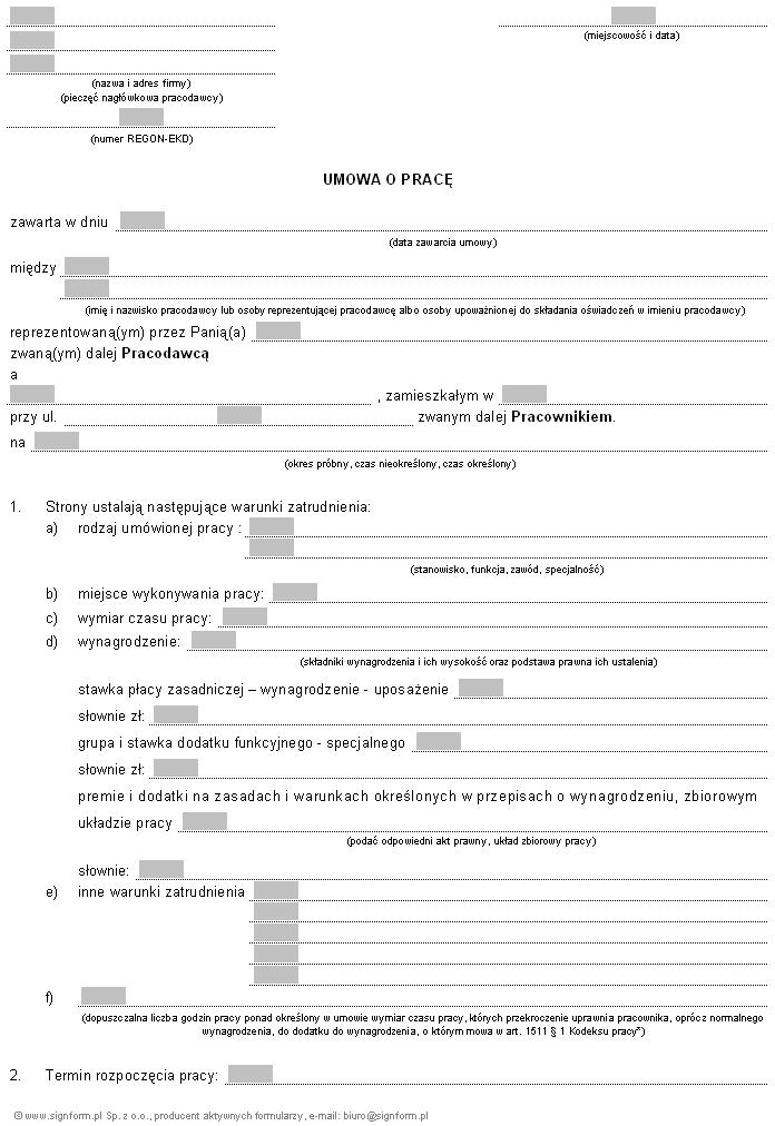 Umowa O Pracę Na Czas Nieokreślony 2018 Wzór Iformpl