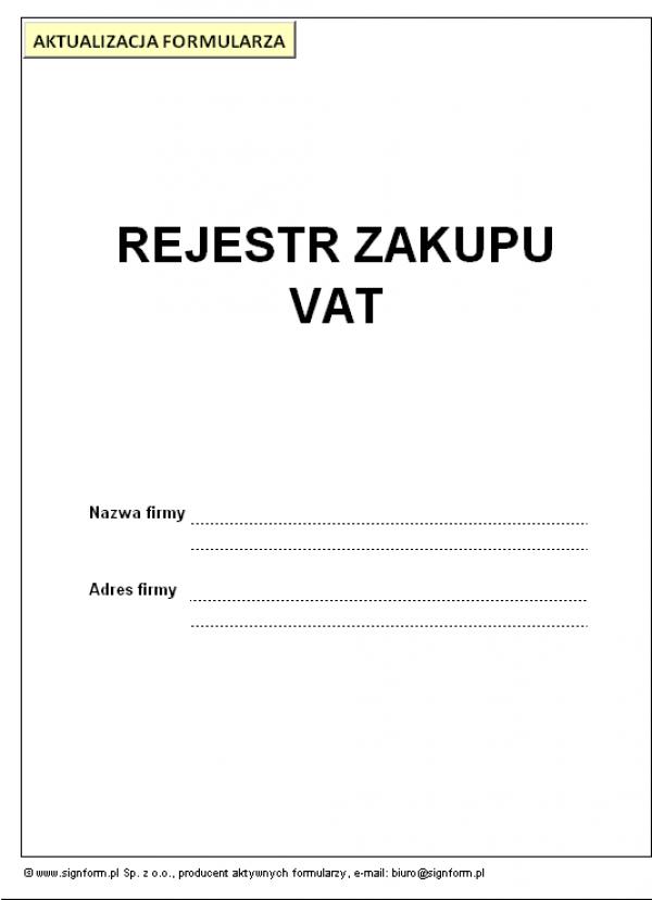 Rejestr zakupu VAT
