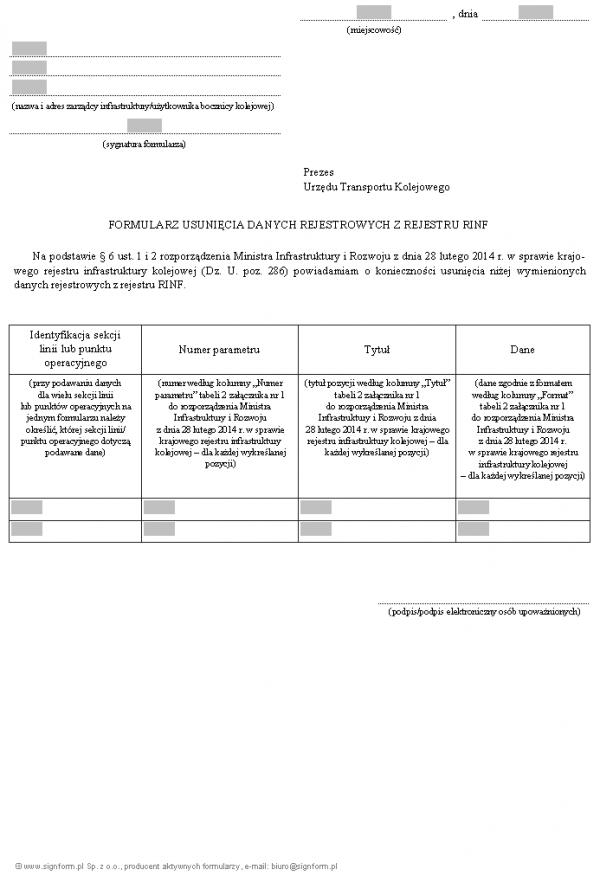 Formularz usunięcia danych rejestrowych z rejestru RINF