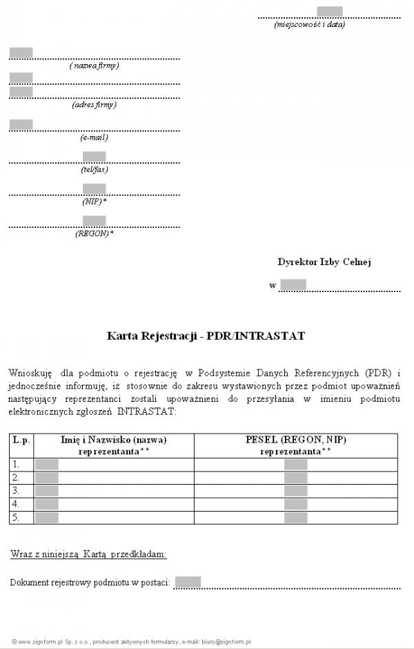 Karta Rejestracji - PDR/Intrastat