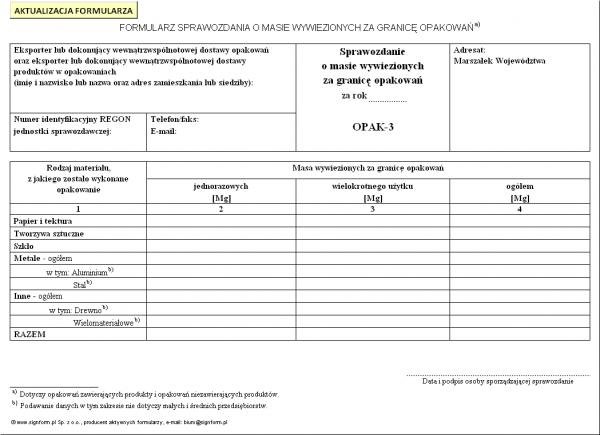 OPAK-3 Sprawozdanie o masie wywiezionych za granicę opakowań