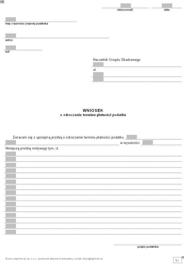 Wniosek o odroczenie terminu płatnosci podatku