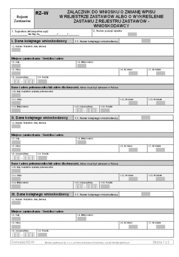 RZ-W Załącznik do wniosku o zmianę wpisu w rejestrze zastawów albo o wykreślenie zastawu z rejestru zastawów - wnioskodawcy