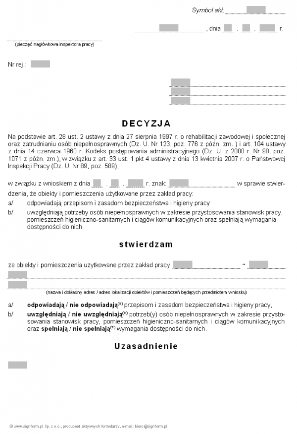 Wzór decyzji w sprawie stwierdzenia spełnienia przez obiekty i pomieszczenia użytkowane przez zakład pracy warunków wymaganych do uzyskania statusu zakładu pracy chronionej (PIP)