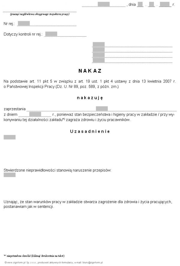 Wzór nakazu okręgowego inspektora pracy zaprzestania prowadzenia działalności bądź działalności określonego rodzaju (PIP)