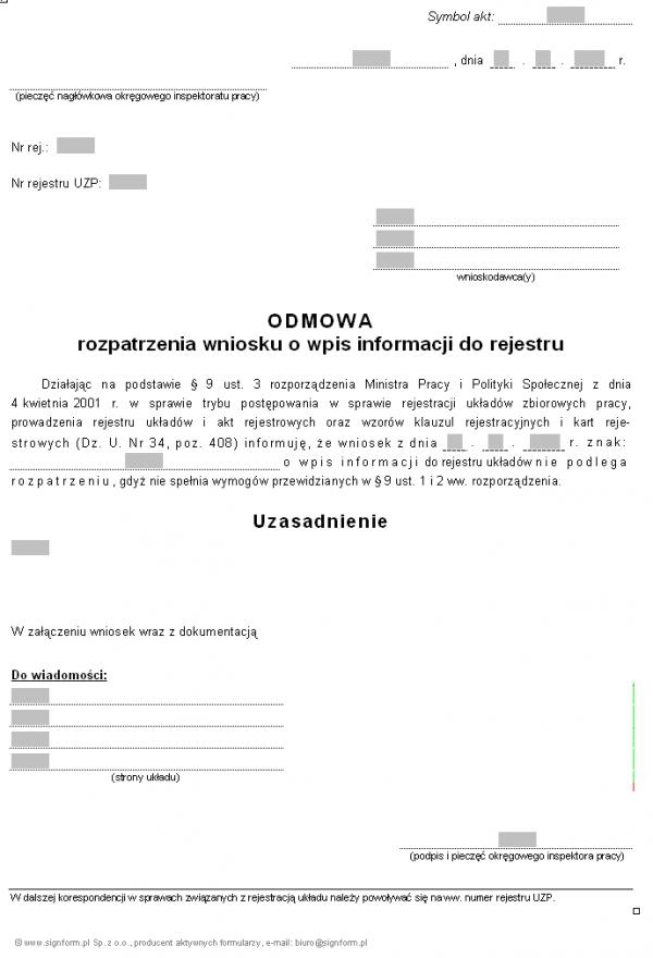 Wzór odmowy rozpatrzenia wniosku o wpis informacji do rejestru układów (PIP)