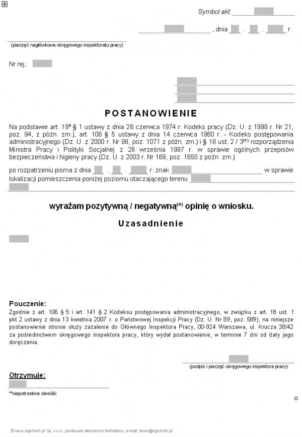 Wzór postanowienia w sprawie lokalizacji pomieszczenia poniżej poziomu otaczającego terenu (PIP)