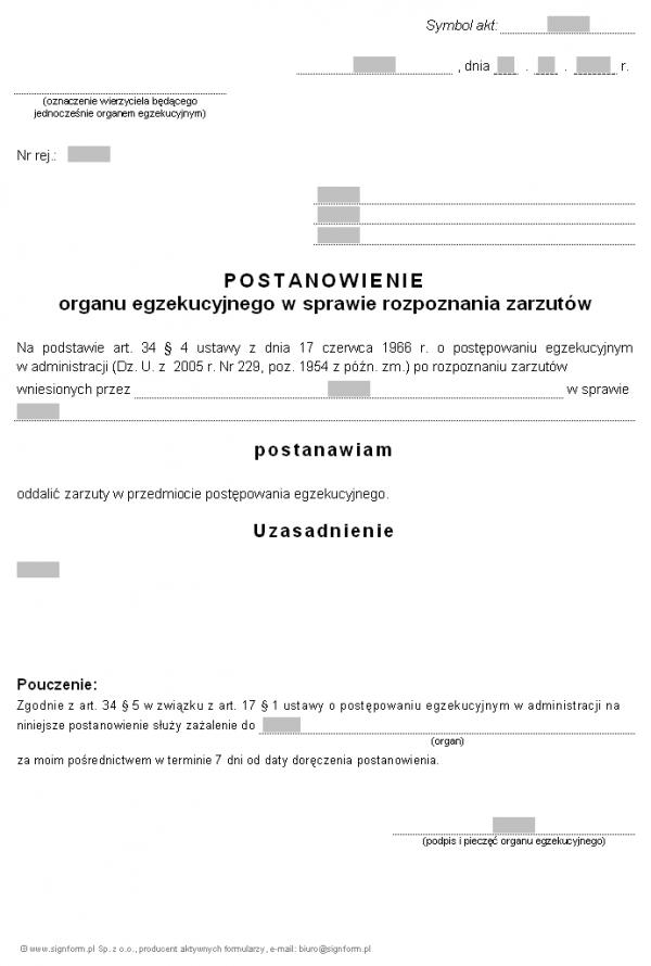 Wzór postanowienia organu egzekucyjnego w sprawie rozpoznania zarzutów, oddalającego zarzuty (PIP)