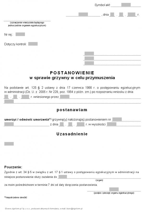 Wzór postanowienia w sprawie umorzenia grzywny w celu przymuszenia (PIP)