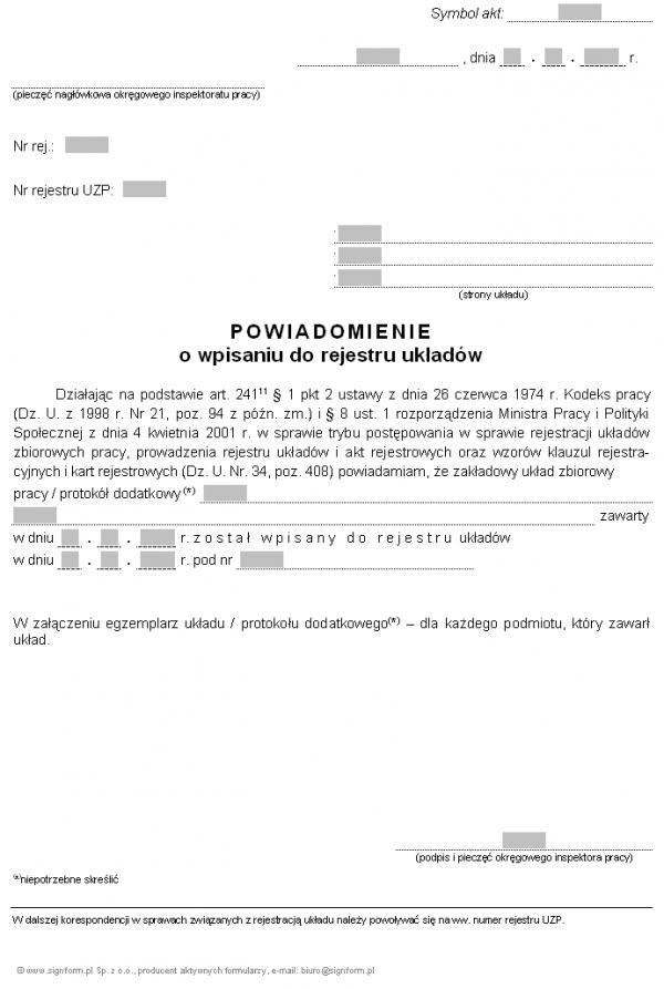 Wzór powiadomienia o wpisaniu układu do rejestru (PIP)