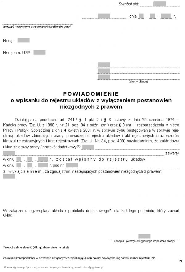 Wzór powiadomienia o wpisaniu układu do rejestru z wyłączeniem postanowień niezgodnych z prawem (PIP)