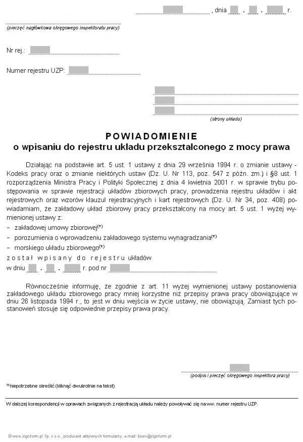 Wzór powiadomienia o wpisaniu do rejestru układu przekształconego z mocy prawa (PIP)