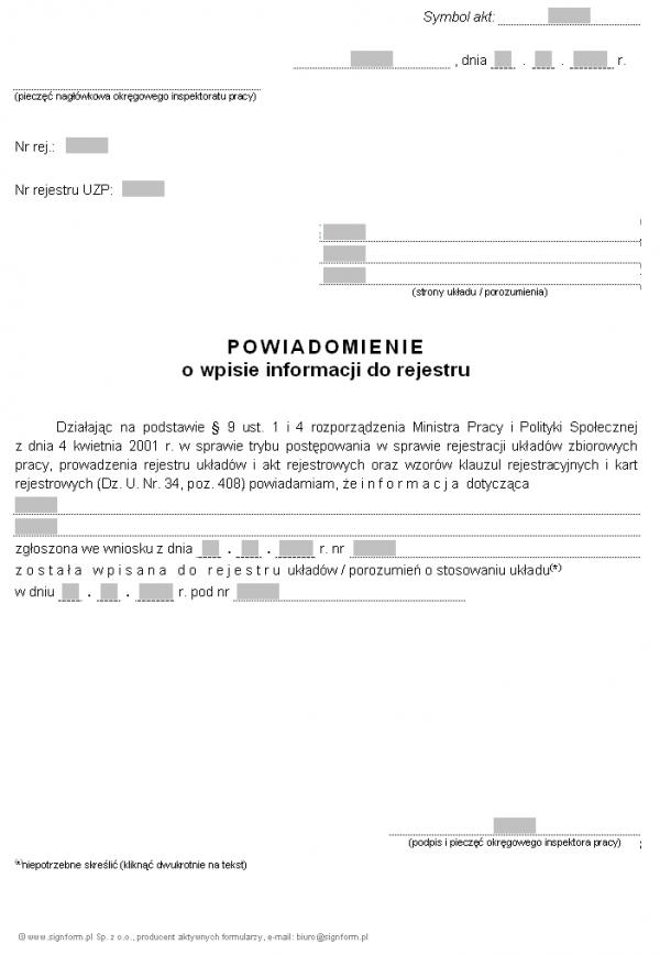 Wzór powiadomienia o wpisie do rejestru informacji zgłoszonych przez strony zakładowego układu zbiorowego pracy (PIP)