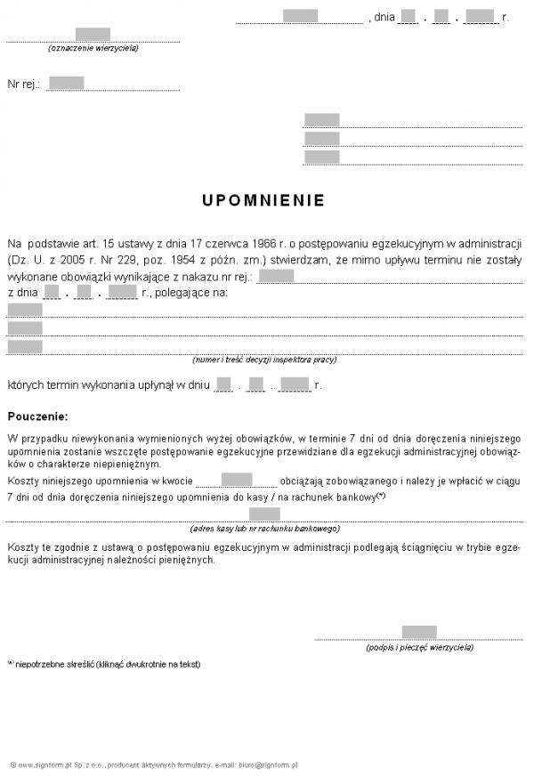 Wzór upomnienia wzywającego do wykonania obowiązków wynikających z nakazu (PIP)