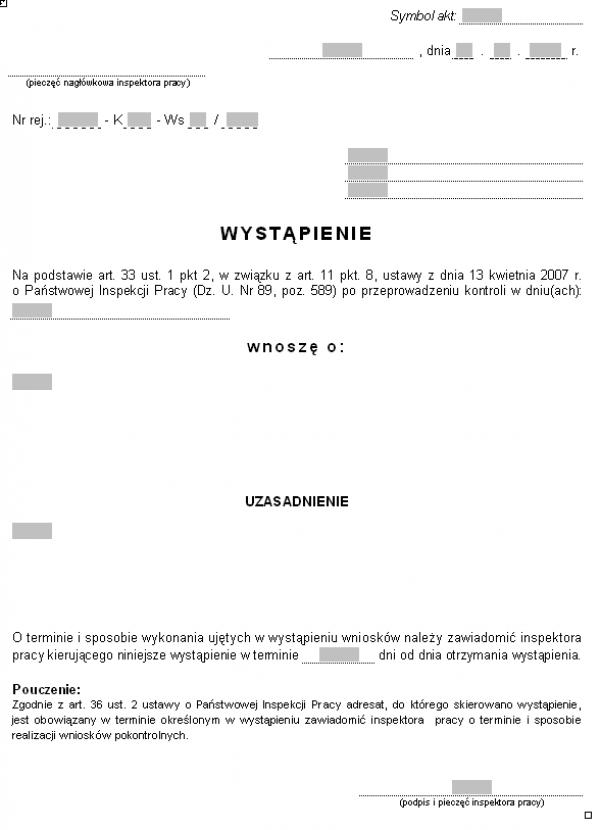 Wzór wystąpienia inspektora pracy (PIP)