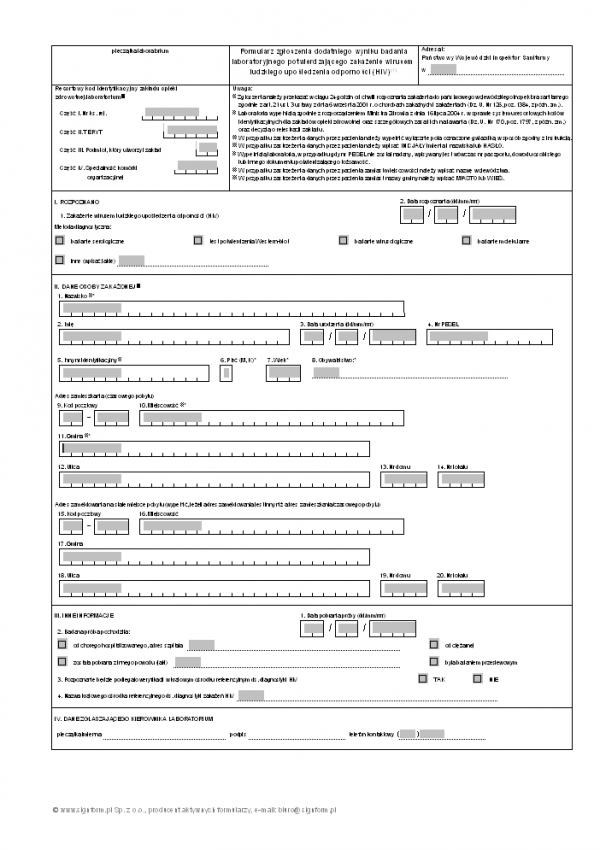 Formularz zgłoszenia dodatniego wyniku badania laboratoryjnego potwierdzającego zakażenie wirusem ludzkiego upośledzenia odporności (HIV)