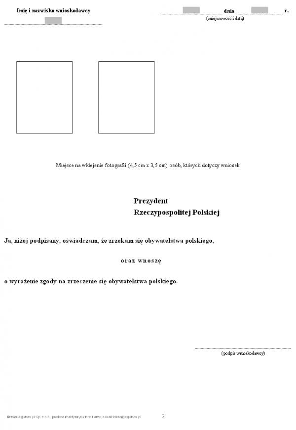 Wniosek o wyrażenie zgody na zrzeczenie się obywatelstwa polskiego