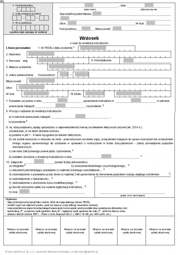 Wniosek o wpis do ewidencji instruktorów nauki jazdy
