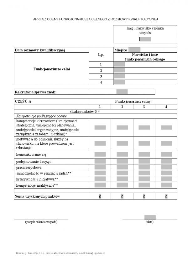 Arkusz oceny funkcjonariusza celnego z rozmowy kwalifikacyjnej