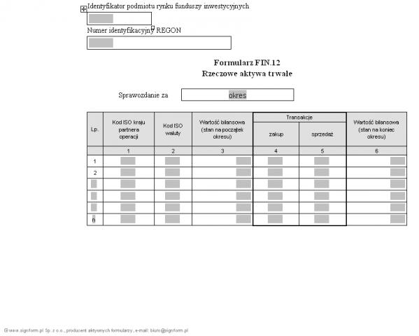 Formularz FIN.12 - Rzeczowe aktywa trwałe