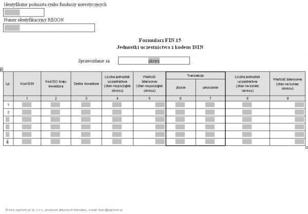 Formularz FIN.15 - Jednostki uczestnictwa z kodem ISIN