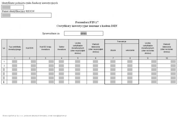 Formularz FIN.17 - Certyfikaty inwestycyjne imienne z kodem ISIN