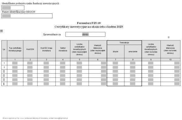Formularz FIN.18 - Certyfikaty inwestycyjne na okaziciela z kodem ISIN