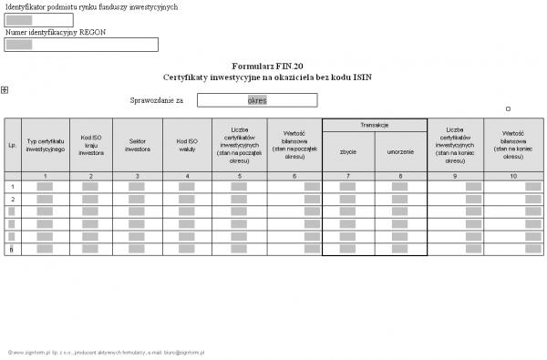 Formularz FIN.20 - Certyfikaty inwestycyjne na okaziciela bez kodu ISIN
