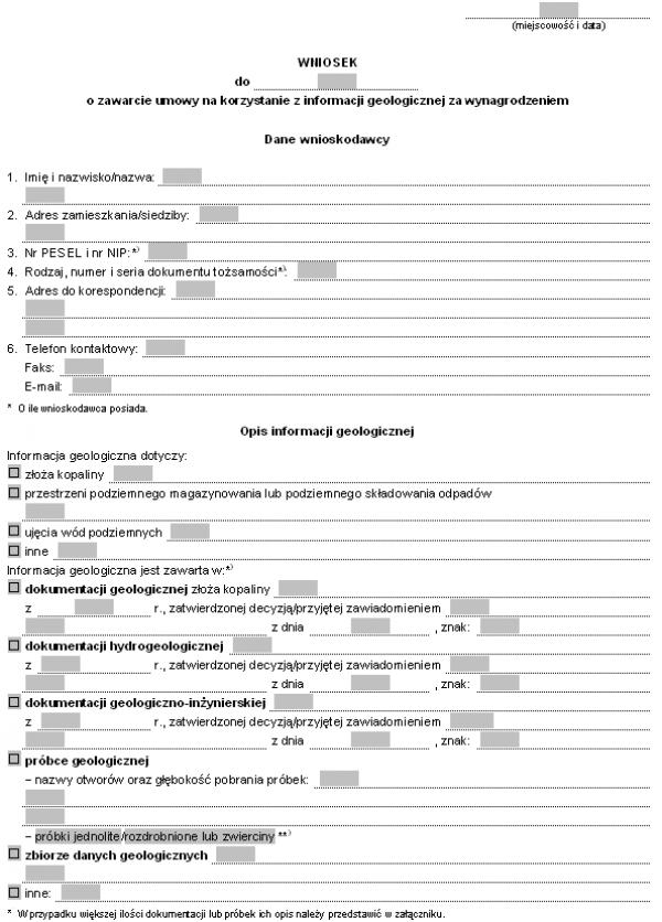 Wniosek o zawarcie umowy na korzystanie z informacji geologicznej za wynagrodzeniem