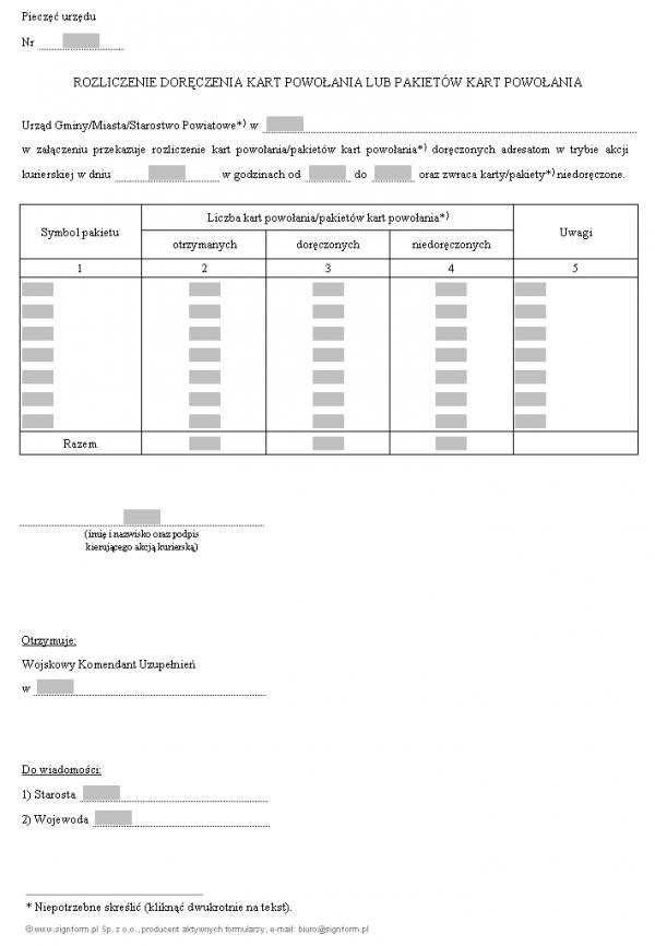 Rozliczenie doręczenia kart powołania lub pakietów kart powołania