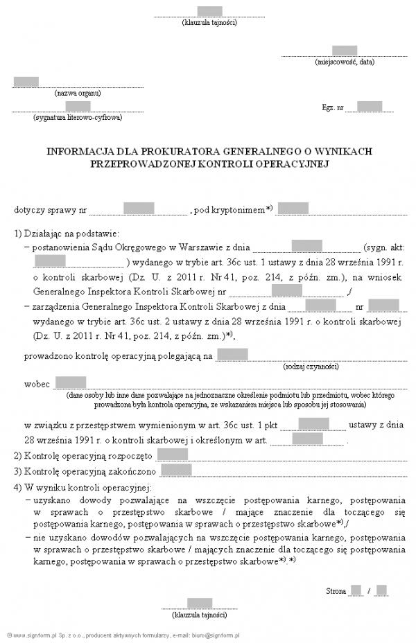 Informacja dla Prokuratora Generalnego o wynikach przeprowadzonej kontroli operacyjnej