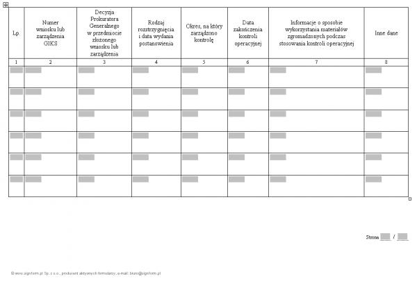 Rejestr pisemnych zgód dotyczących kontroli operacyjnej prowadzonych przez Prokuratora Generalnego