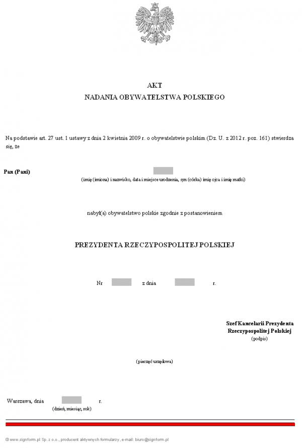 Akt nadania obywatelstwa polskiego