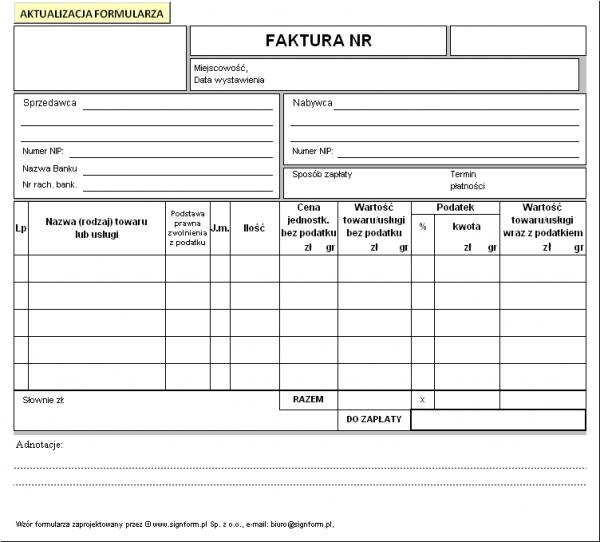 Faktura Uproszczona Finansowe Formularze Branżowe Formularze