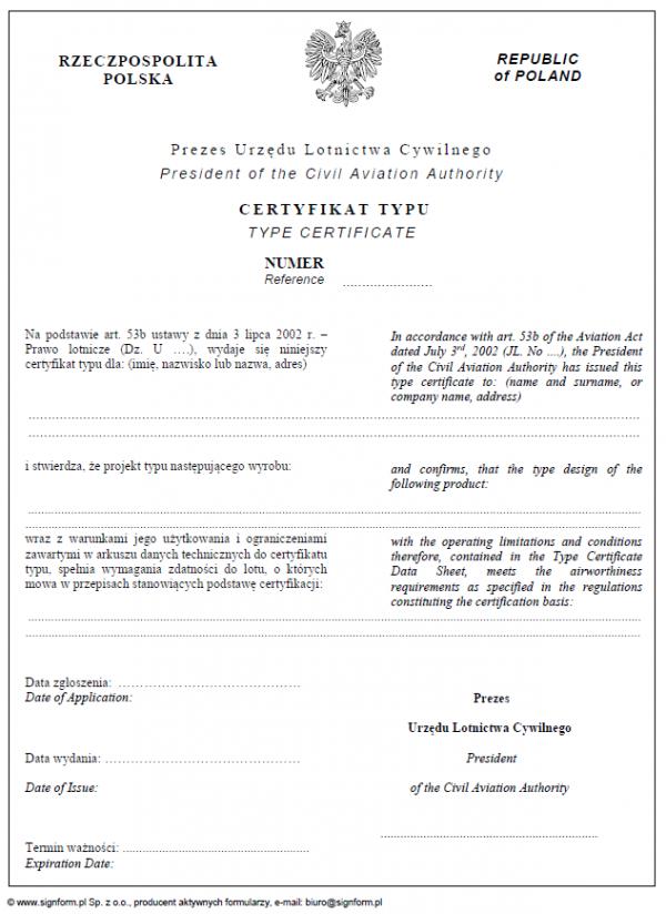 Certyfikat typu (statek powietrzny)
