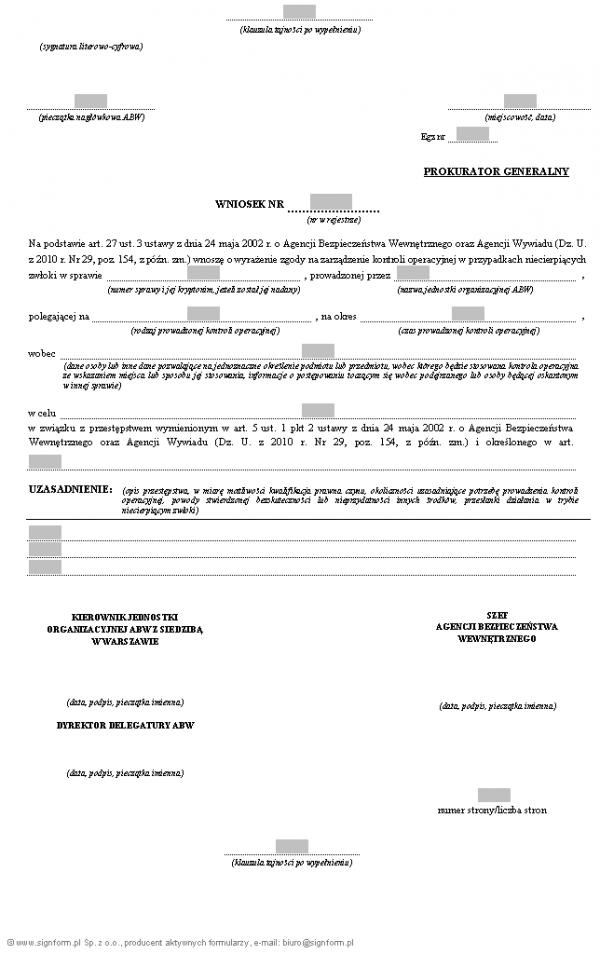 Wniosek szefa ABW do Prokuratora Generalnego o wyrażenie zgody na zarządzenie kontroli operacyjnej w przypadkach niecierpiących zwloki