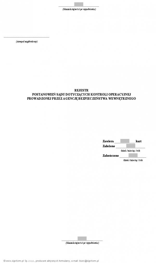Rejestr postanowień sądu dotyczących kontroli operacyjnej prowadzonej przez ABW