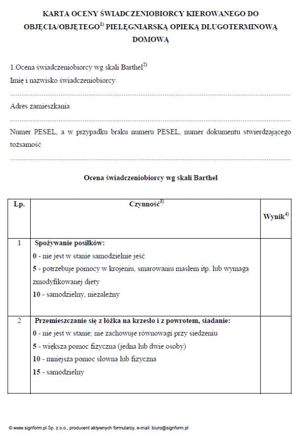 Karta oceny świadczeniobiorcy kierowanego do objęcia/objętego pielęgniarską opieką długoterminową