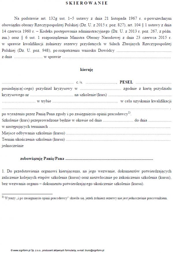 Skierowanie żołnierza do uzyskania kwalifikacji zawodowych, które będą przydatne w Siłach Zbrojnych