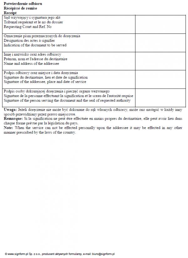 Potwierdzenie odbioru pisma sądowego (język francuski i angielski)