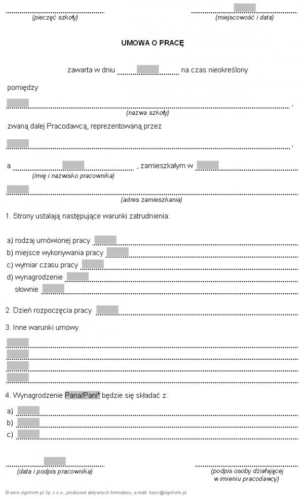 Wzór umowy o pracę z nauczycielem