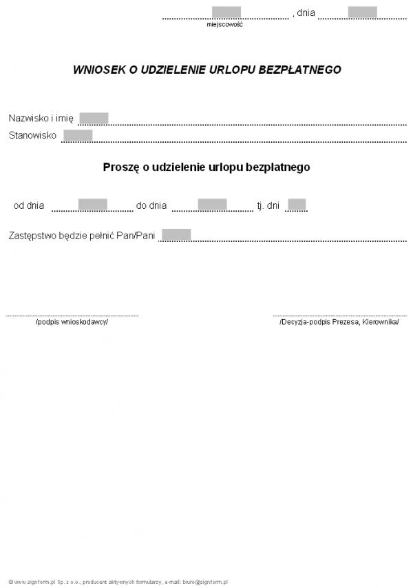 Wniosek o udzielenie urlopu bezpłatnego przez pracodawcę