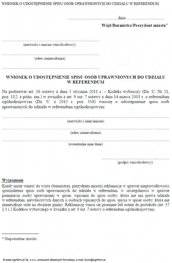 Wniosek o udostępnienie spisu osób uprawnionych do udziału w referendum