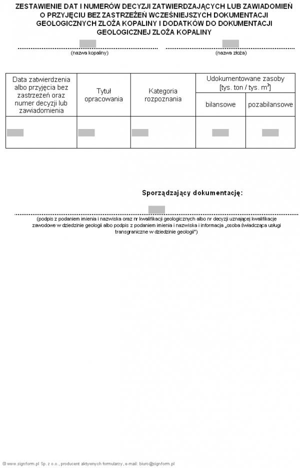 Zestawienie dat i numerów decyzji zatwierdzających lub zawiadomień o przyjęciu bez zastrzeżeń wcześniejszych dokumentacji geologicznych złoża kopaliny i dodatków do dokumentacji geologicznej złoża kopaliny