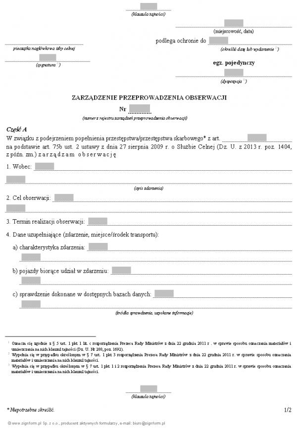 Zarządzenie przeprowadzenia obserwacji przez Służbę Celną, w związku z podejrzeniem popełnienia przestępstwa/przestępstwa skarbowego