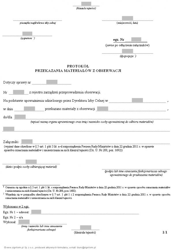 Protokół przekazania materiałów z obserwacji przeprowadzonej przez Służbę Celną, w związku z podejrzeniem popełnienia przestępstwa/przestępstwa skarbowego