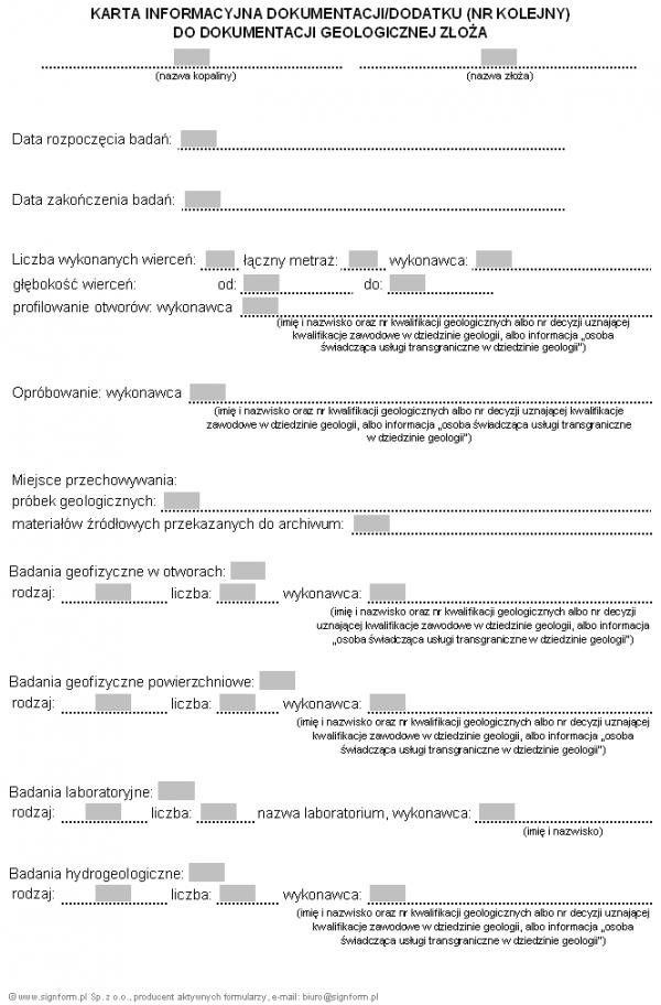 Karta informacyjna dokumentacji/dodatku (nr kolejny) do dokumentacji geologicznej złoża