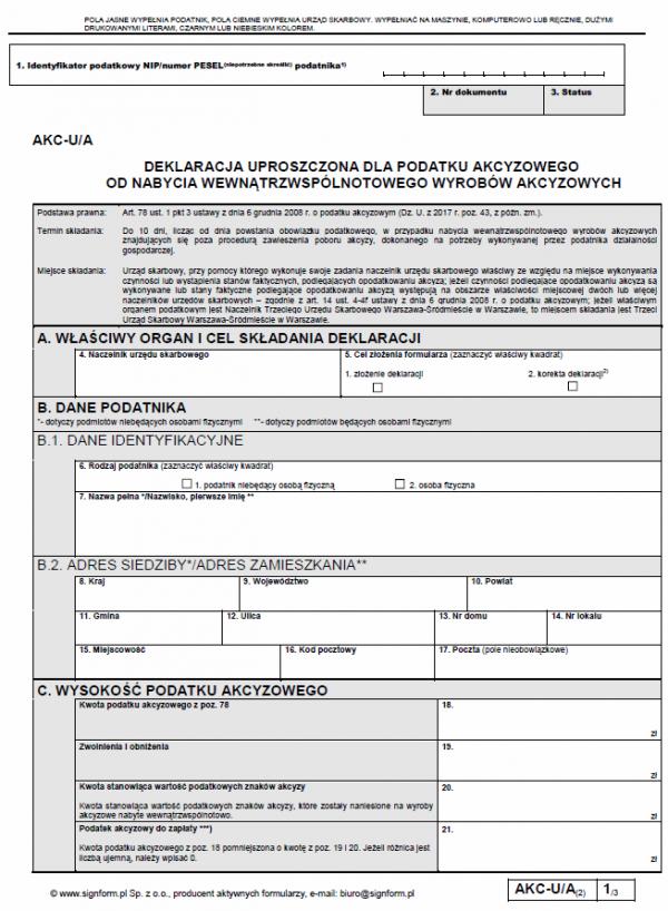AKC-U/A Deklaracja uproszczona dla podatku akcyzowego od nabycia wewnątrzwspólnotowego wyrobów akcyzowych