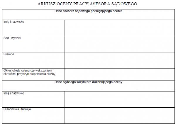 Arkusz oceny pracy asesora sądowego