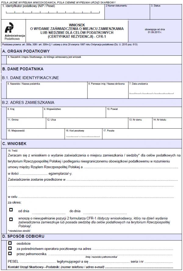 Wniosek o wydanie zaświadczenia o miejscu zamieszkania lub siedzibie dla celów podatkowych (Certyfikat Rezydencji) - CFR-1